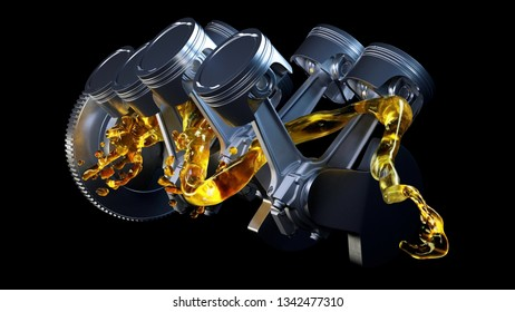 3d illustration of car engine with lubricant oil on repairing. Concept of lubricate motor oil