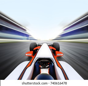 3D illustration of car that driving on high speed empty road - motion blur