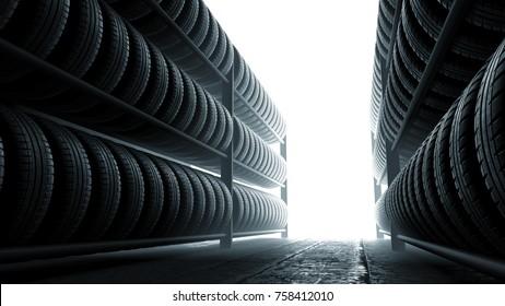 3D illustration, car tires rack in workshop background, back lit