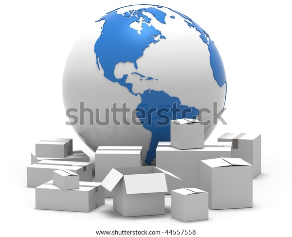 3D illustration of card board boxes around planet earth, isolated in white background