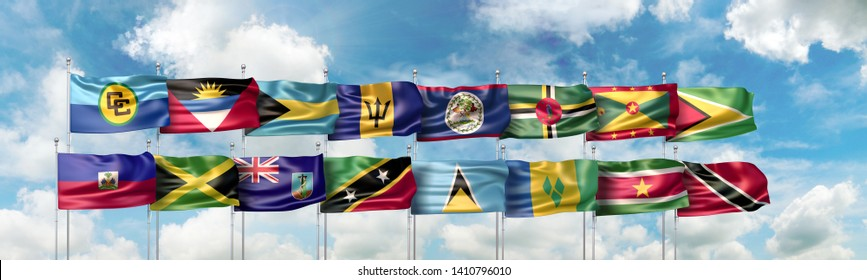 3D Illustration of the Caribbean Community official flag and of national flags of the fifteen Caribbean countries which are full member states of the CARICOM (or CC)