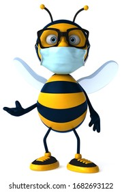 3D Illustration of a cartoon bee with a mask