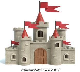 3d illustration of a Cartoon Castle