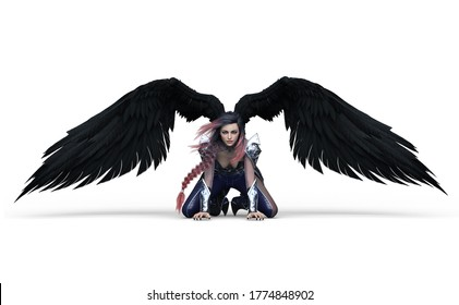 3D illustration of a cartoon character female girl woman young attractive with wings