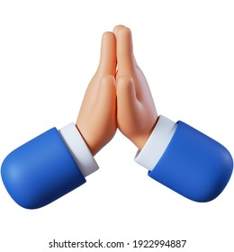 3d illustration. Cartoon character hands prayer gesture. Hope concept. Clip art isolated on white background.