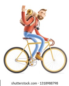 3d illustration. Cartoon character tourist ride on bicycle.