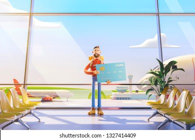 3d illustration. Cartoon character tourist salutes in airport. Concept of travel over the air miles