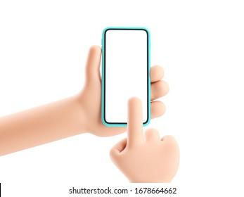 3D-Abbildung. Cartoon-Hand, die ein Telefon auf weißem Hintergrund hält. Cartoon-Gerät Nach oben bewegen.