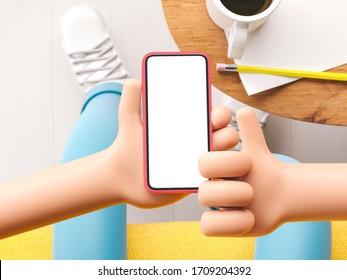 3d illustration. Cartoon hand holding phone in the living room. Cartoon device Mockup.