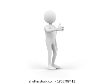 3D illustration of a cartoon man showing thumbs up