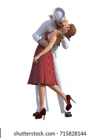 3D Illustration Cartoon Style of VJ Day Sailor Kissing Girl At Train Station