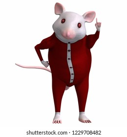 3D illustration of a cartoon white house mouse in sleeping suit over white
