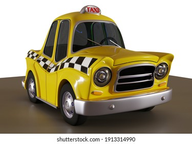 3D illustration of a cartoon yellow cab viewed from the side with white background.