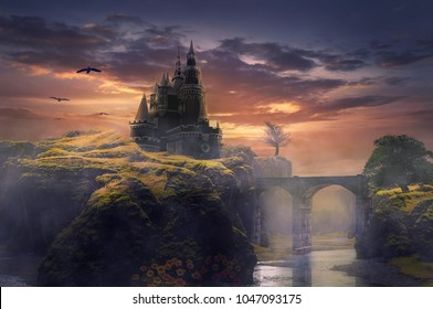 3d illustration castle on hill sunrise