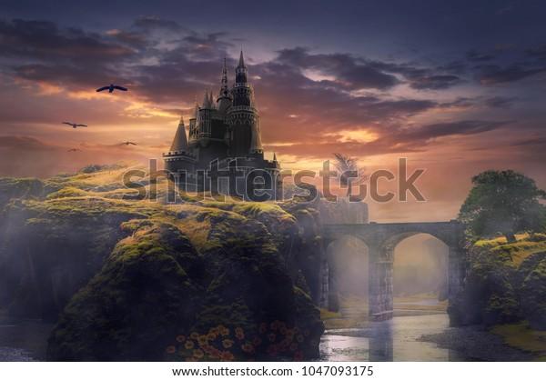 3d иллюстрация замок на холме восход солнца