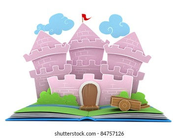 3D Illustration of a Castle on Popup Book