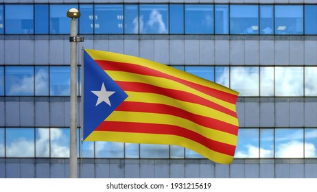 3D illustration Catalonia independent flag waving in modern skyscraper city. Beautiful tall tower with Catalan estelada banner blowing. Cloth fabric texture ensign background.