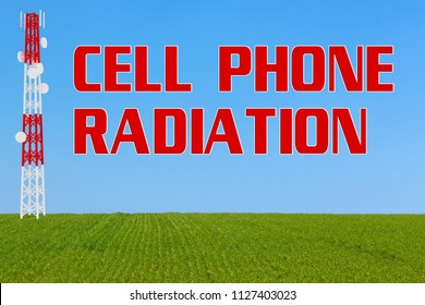 3D illustration of CELL PHONE RADIATION script beside a communication pole