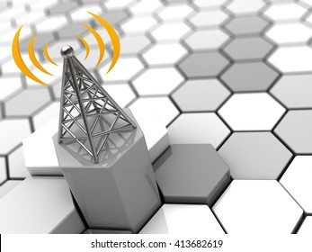 3d illustration of cellular network concept
