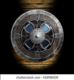3D illustration Celtic Viking Shield