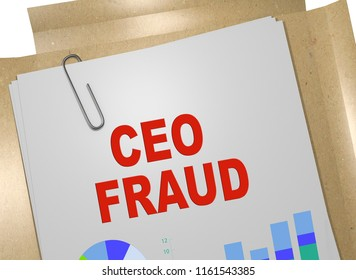 3D illustration of CEO FRAUD title on business document