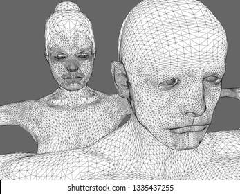 3d illustration: cgi/ illustration: man, woman, ai, bionics, genetic engineering, robotics.