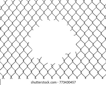 3d illustration. Chainlink fence with hole. Image with clipping path