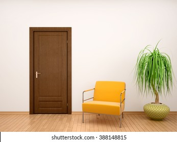 3d illustration of chair and flower pot near the door
