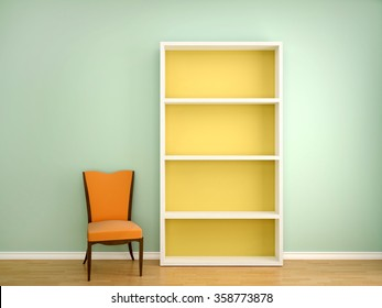 3d illustration of the chair and open the empty shelves of books in the interior