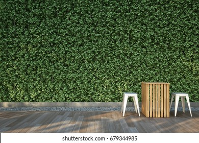 3D illustration : Chairs set on wood deck in the garden.