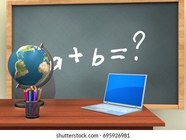 3d illustration of chalkboard with math exercise text and computer