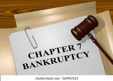 "3D illustration of ""CHAPTER 7 BANKRUPTCY"" title on legal document"