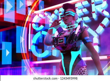 3d illustration of a character artwork of a sci-fi cyber punk girl with neon glasses, collar and armor torso on neon city background.