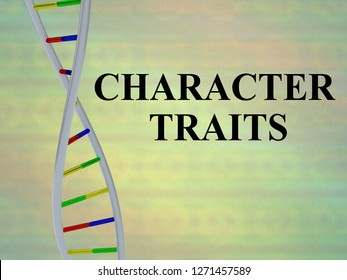 3D illustration of CHARACTER TRAITS script with DNA double helix , isolated on colored background.