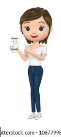 3D illustration character - The woman wearing a T-shirt talks with a cell-phone.