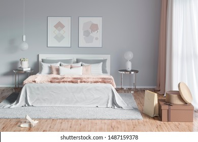 3d illustration. Charming woman's bedroom with painting, a mirror and hairy plaid. Front view