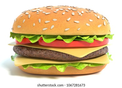 3d illustration of a cheeseburger