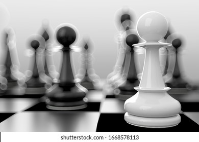 3d Illustration of the chess game starting
