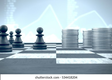 3d illustration: Chess pawn in front of money stacks on a blue financial background