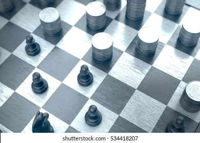 3d illustration: Chess pieces play with money stacks in a  blue environment