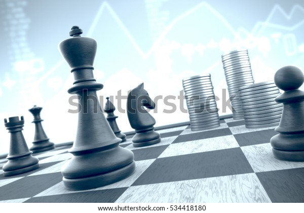 3d illustration: Chess strategy to capture money stacks on a blue financial data background