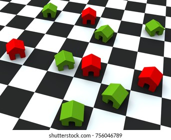 3D illustration A chessboard with houses on top.