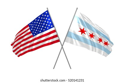 3d illustration of Chicago city and USA state flags crossed and combined together waving in the wind
