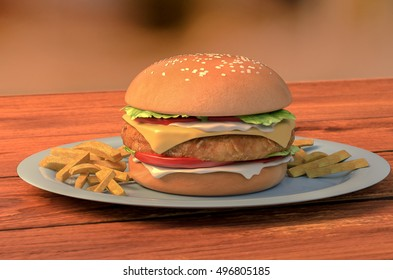 3d illustration of a chicken burger with mayonnaise on plate with fries