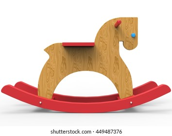 3d illustration of children horse toy. icon for game web. white background isolated. colored and cute.