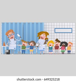 3d illustration.  Children at medical clinic for blood´s analysis