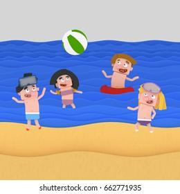 3d illustration. Children playing beach ball at beach