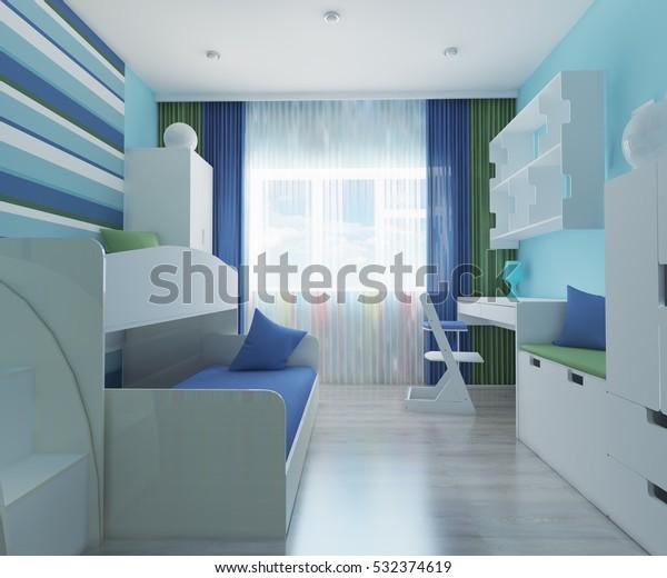 3d Illustration Childrens Room Boy Blue Stock Illustration 532374619