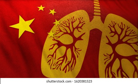 3D illustration of Chinese flag merging with graphic icon of human lung as Wuhan Corona Virus causes viral pneumonia outbreak like SARS virus as a deadly pandemic crisis. Acute global alert banner.