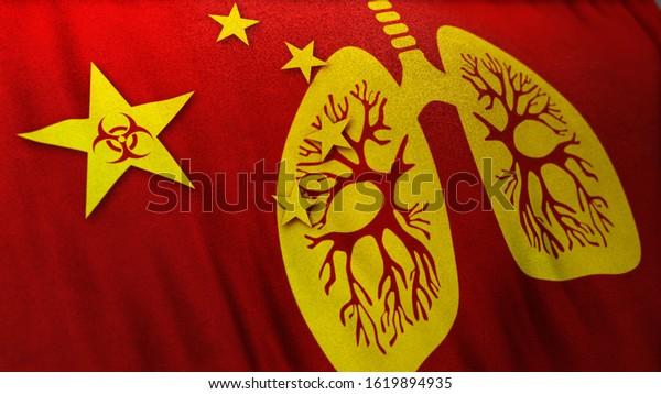 3D illustration of Chinese flag merging with human lung and biohazard sign as Wuhan Corona Virus causes viral pneumonia outbreak like Sars virus as deadly pandemic crisis. Acute global alert banner.